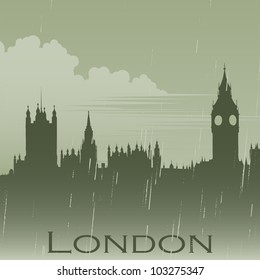 London in rain fog