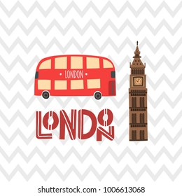 London red bus and Big Ben on the zig zag pattern background. Stock vector