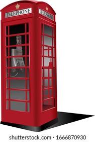 London red public phone  box. Vector illustration