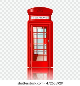London red telephone box realistic vector illustration