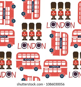 London seamless retro pattern with soldiers and buses