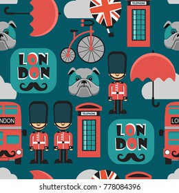 London seamless vector pattern for kids
