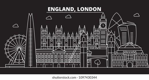 London silhouette skyline. Great Britain - London vector city, british linear architecture, buildings. London travel illustration, outline landmarks. Great Britain flat icon, british line banner