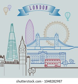 London skyline. Background. Outline graphic. Vector illustration.