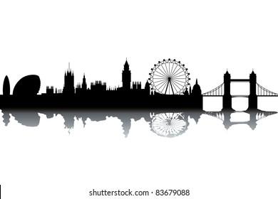 London skyline - black and white vector illustration