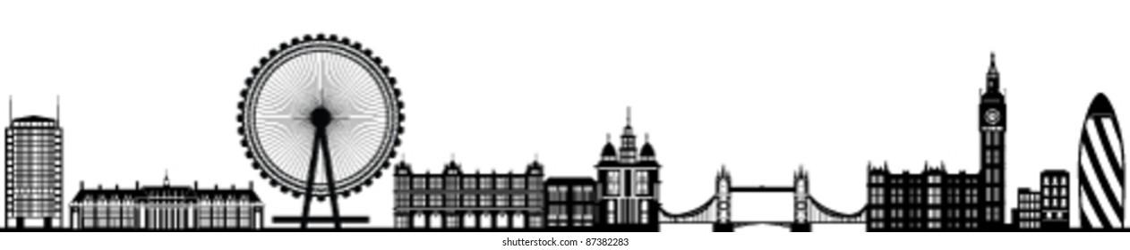 London Skyline Detailed Silhouette Black Vector Illustration
