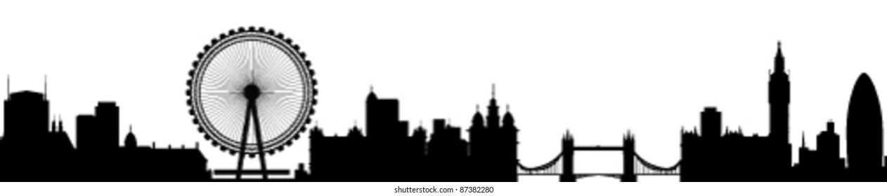 London Skyline Detailed Silhouette Vector Illustration