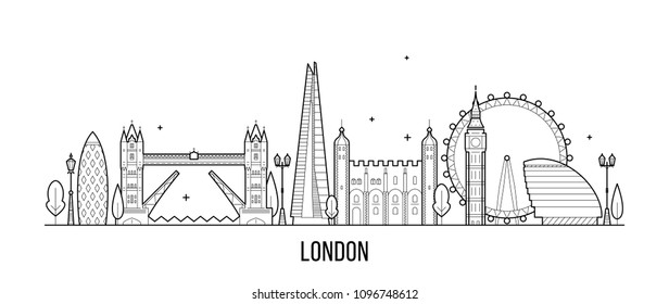 London skyline, England, UK. This illustration represents the city with its most notable buildings. Vector is fully editable, every object is holistic and movable