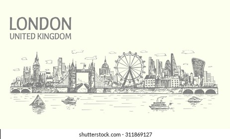 London skyline hand drawn, sketched ,isolated