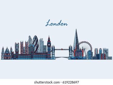 London skyline hand drawn, sketched. Vector illustration
