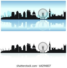london skyline including all the tourist attractions as a detailed black silhouette with the thames reflection
