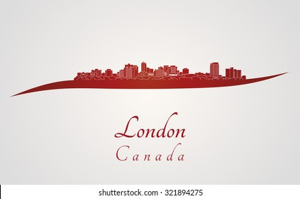 London skyline in red and gray background in editable vector file