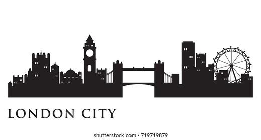 London Skyline Silhouette Skyline  Vector City Design