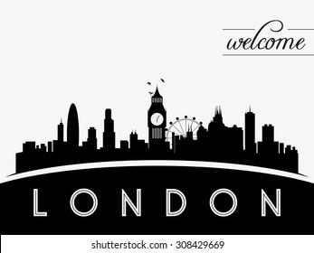London skyline silhouette vector illustration, black and white design