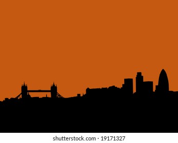 London skyline with Tower bridge and skyscrapers at sunset illustration