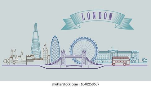 London skyline. Vector background. Outline graphic illustration.