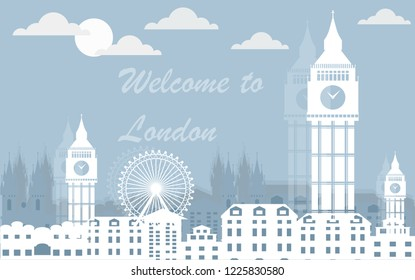 London skyline vector Illustration. Architecture and transport. England landmark, London city abstract street cartoon style. Isolated on white background. Travel to United Kingdom Great Britain