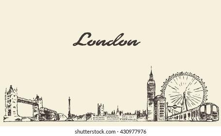 London skyline, vintage vector engraved illustration, hand drawn, sketch