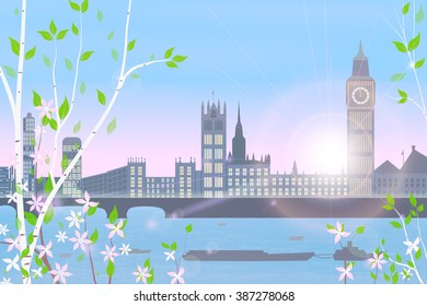 London, spring, cityscape on blue sky and sun background, birch and flowering shrubs in the foreground,  vector illustration