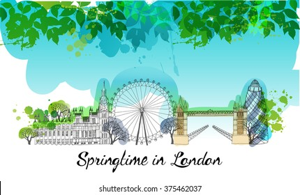 London in Springtime. Watercolor vector background