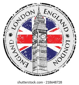 london stamp british flag print vector banner city rubber grunge Great Britain, Big Ben tower and British flag vector