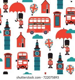 London street cartoon seamless vector. Kids print design textile