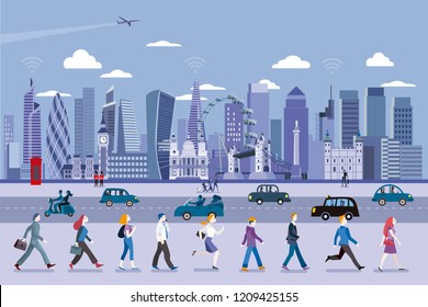 London street with people walking and the City Skyline at the background. Flat vector illustration.