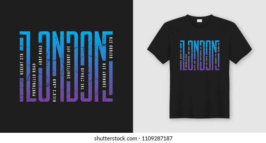 London streets stylish t-shirt and apparel design, typography, print, vector illustration. Global swatches.