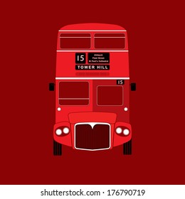 London symbol - red bus  icon - double decker - vector illustration - silhouette, stencil style