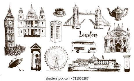 London symbols: Big Ben, Tower, Bridge, bus, mail, call box. St. Paul Cathedral, tea, umbrella, westminster. Beautiful hand drawn vector sketch illustration. For prints, textile, advertising, panorama
