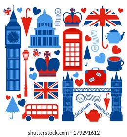 London symbols collection of tower bridge big ben and telephone booth culture isolated vector illustration