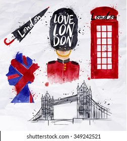 London symbols phone booth, umbrella, tower bridge, bearskin hats, drawing with drops and splash on a crumpled paper