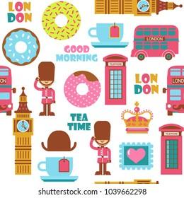 London tea time childish cartoon vector pattern