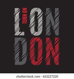 London tee print. T-shirt design graphics stamp label typography. Vector illustration.
