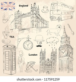 London travel collection with different british elements. Sketch icons of England