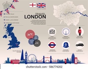 London Travel Infographic. Set of vector graphic images, icons and landmarks representing the English city of London.