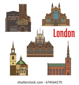 London travel landmark of british religious architecture thin line icon set. Anglican St James Church, St Johns Church, Priory Church of St Bartholomew, St Stephen Walbrook, Southwark Cathedral