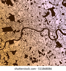 London Two-Tone Map Artprint, Vector Outline Version, ready for color change