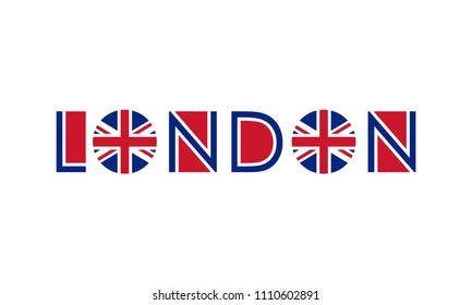 London typography design with circle UK flag. London banner, poster, sport t-shirt print design and apparels graphic. Vector illustration.