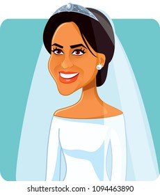London, UK, 19 May, Meghan Markle  in Wedding Dress Vector Portrait
