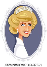 London, UK, 19 September 2018, Lady Diana Princess of Wales Vector Caricature