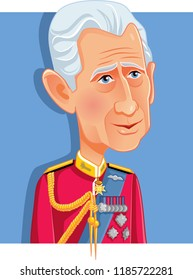London, UK, 22 September 2018, Charles Prince of Wales Vector Caricature