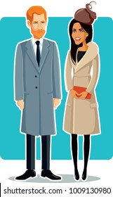 London, UK, 24 January, Meghan Markle and Prince Harry Vector Drawing Illustration