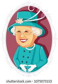 London, UK, April 23, Queen Elizabeth II Vector Caricature