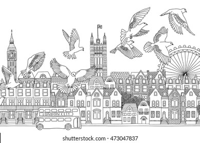 London, UK - hand drawn black and white cityscape with birds