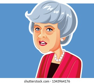 London, UK, March 20, 2019, Theresa May Vector Caricature