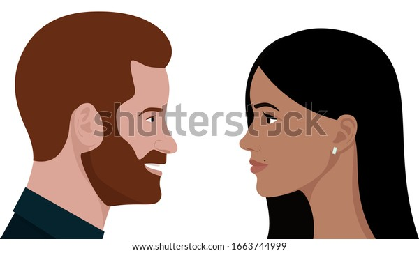 London, UK - March 2020: editorial vector flat portrait of Prince Harry and his wife Meghan Markle, Duke and Duchess of Sussex. Smiling Royal couple look at each other.