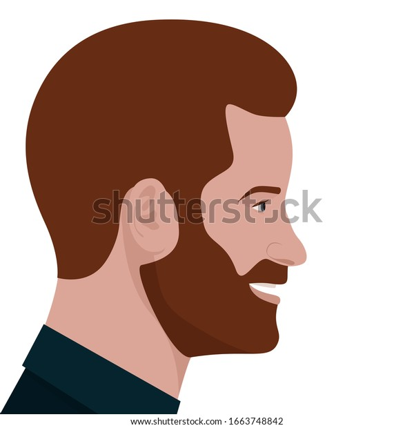 London, UK - March 2020: editorial vector flat portrait of Prince Harry, Duke of Sussex, in profile