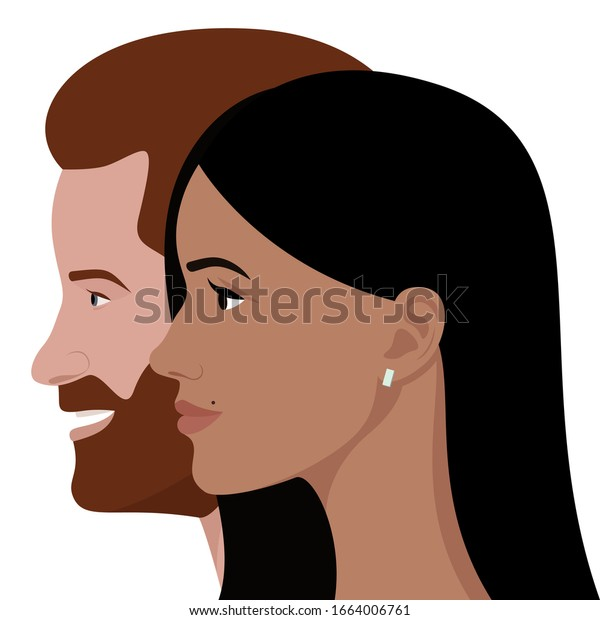 London, UK - March 2020: editorial vector flat portrait of Prince Harry, Duke of Sussex, and his wife, Meghan Markle, Duchess of Sussex, in profile on a transparent background.