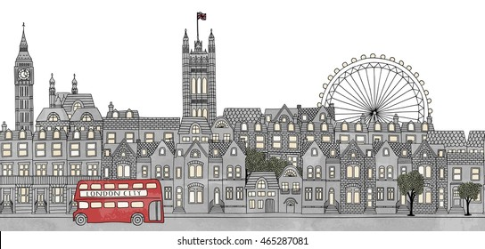London, UK - seamless banner of the city's skyline, hand drawn and digitally colored ink illustration